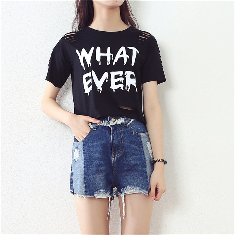 MERRY PRETTY  New t Shirt Women Crop Tops Harajuk Crew Neck Short Sleeve WHAT EVER printed T-Shirts Sexy Summer Top For Girls