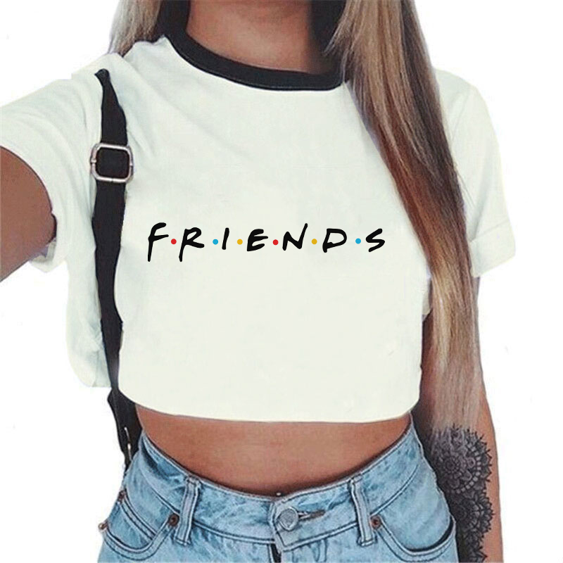 2019 Summer Tops For Women Sexy tumblr Kawaii Harajuku Best Friends Tv print T Shirt Aesthetic Crop Top Graphic Tees Women