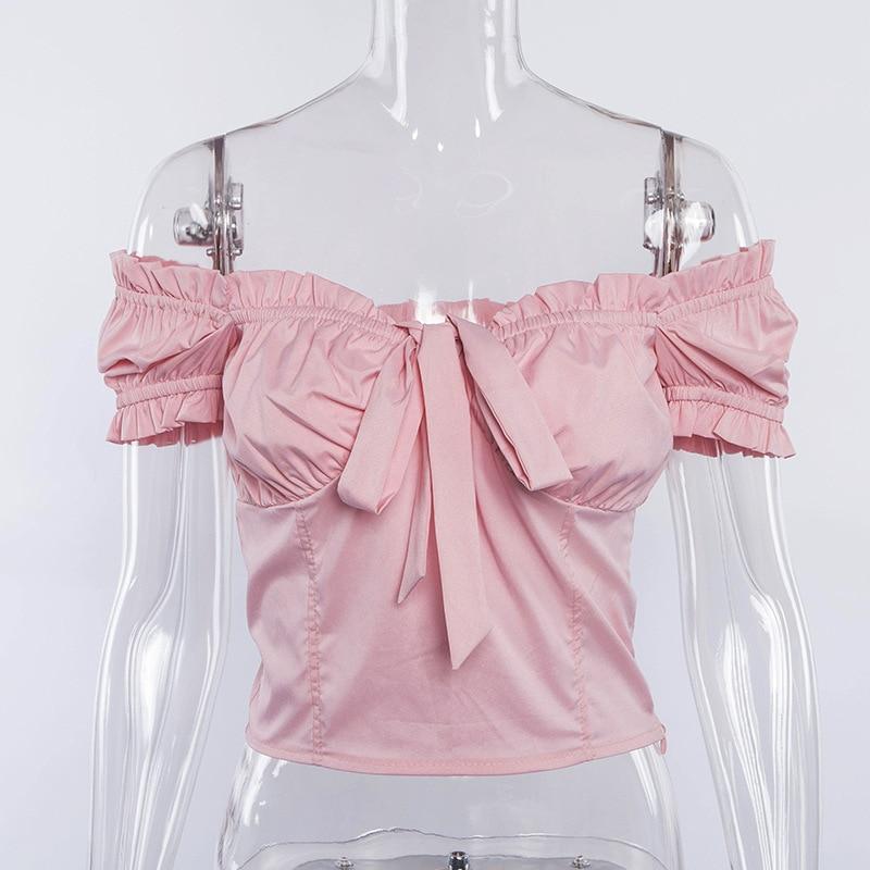 Gtpdpllt 2018 Sexy Ruffles t shirt Women Off Shoulder Short Sleeve t shirt women Bow Crop Top t-shirt Red Femme tshirt Tops Tee