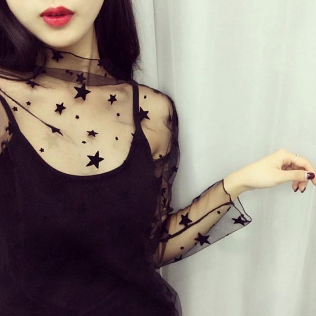 TWOTWINSTYLE Mesh Lace Sexy T Shirt Womens Stand Collar Hollow Out Basic Transparent Pullover T Shirts 2018 Spring Fashion Tops