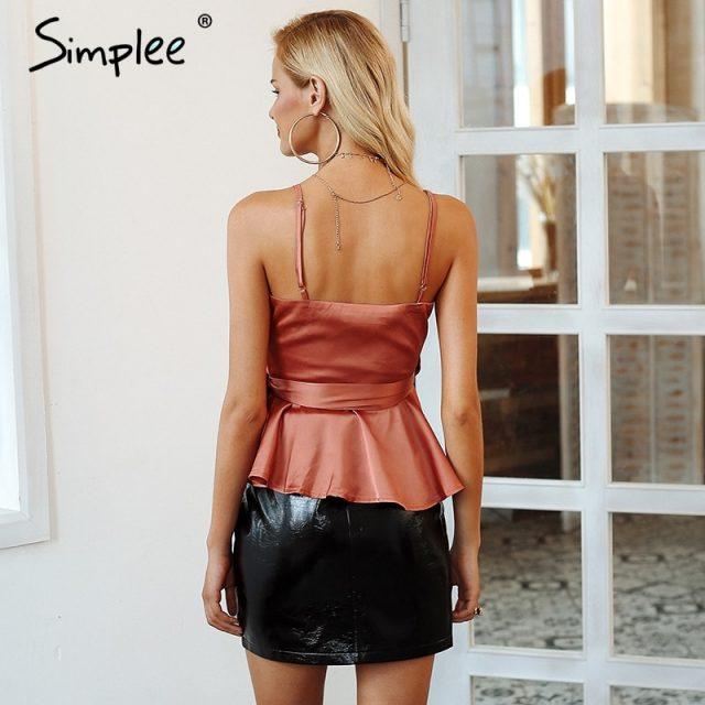 Simplee Sexy v neck wrap satin peplum top women Strap summer shirt tank top female Elegant ladies 2018 ruffle sash cami crop top