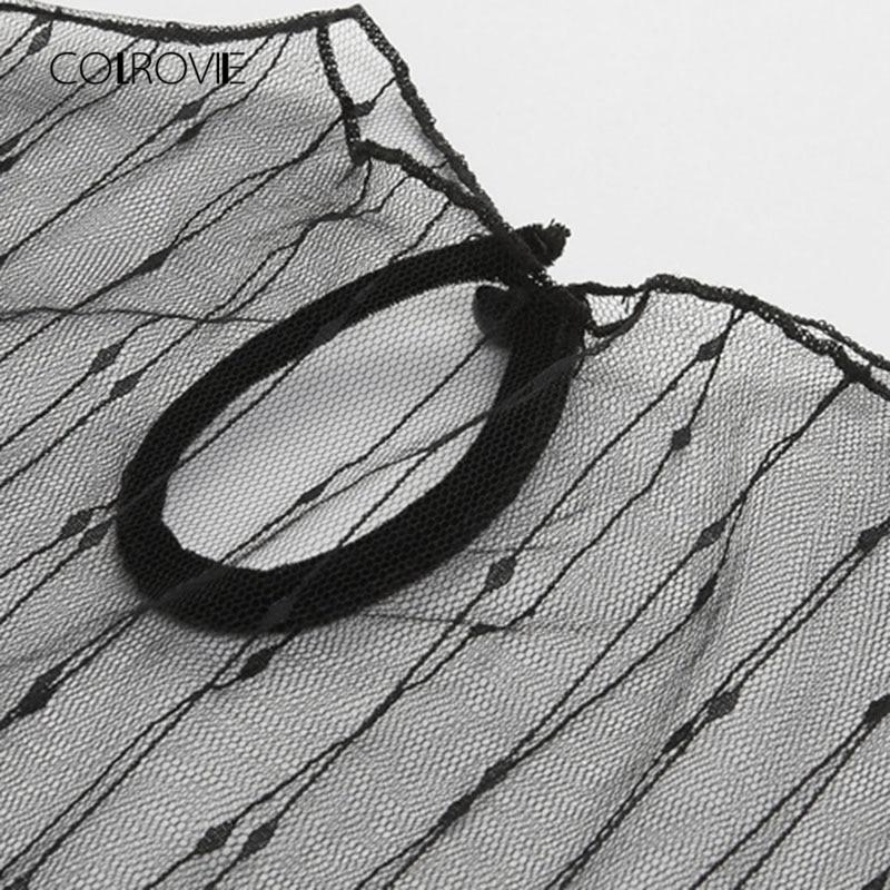 COLROVIE New Fashion Cut Out Plain Women Tee 2018 Caged Front Summer T-shirt Round Neck Short Sleeve Mesh Panel Velvet Shirt