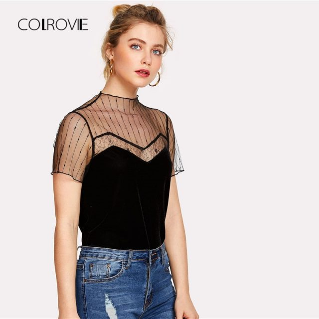 COLROVIE New Fashion Cut Out Plain Women Tee 2018 Caged Front Summer T-shirt Round Neck Short Sleeve Mesh Panel Velvet Shirt