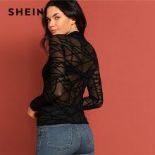 SHEIN Sexy Black Mock-neck Sheer Mesh Geometric Top Without Bra Long Sleeve Transparent Slim Fit Tee Spring Women Tshirt Tops