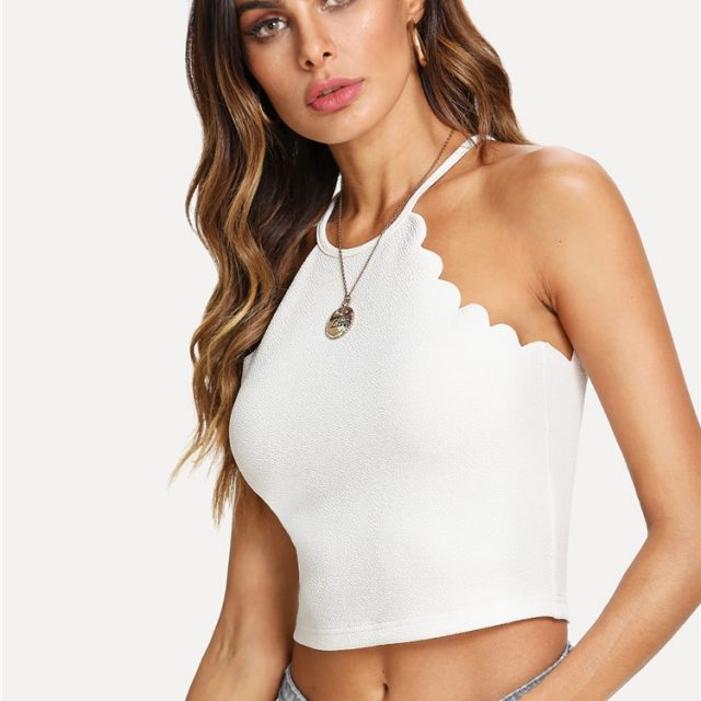 SHEIN White Scallop Trim Halter Stretchy Top Women Button Plain Clothing Crop Top Vest 2018 Summer New Female Sexy Party Vest