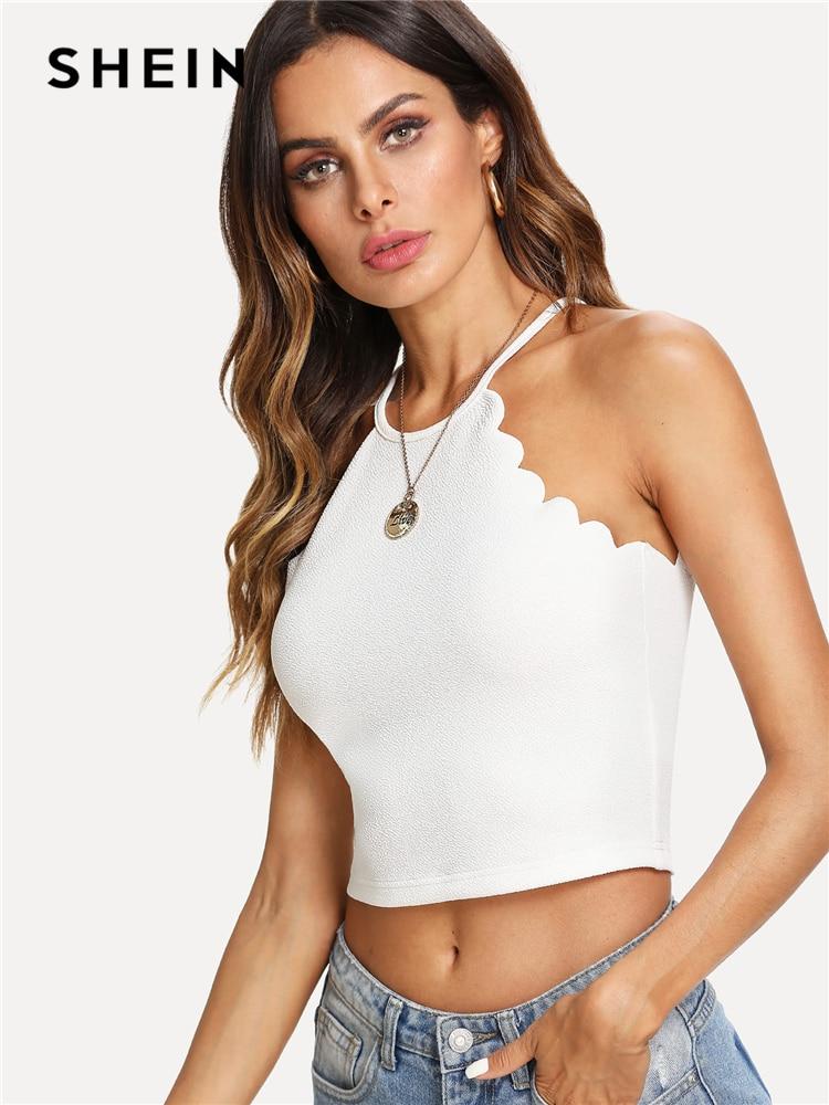 SHEIN White Scallop Trim Halter Stretchy Top Women Button Plain Clothing Crop Top Vest 2018 Summer New Female Sexy Party Vest