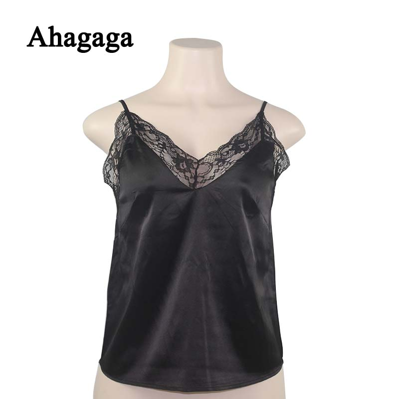2019 Spring Summer Sexy Lace Camis Women Tops Fashion Solid White Black Hollow Out Sexy V-neck Women Camis Blusas Female Tops