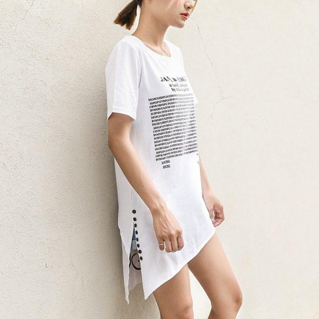 FEKEHA Summer Long T shirt Women Letter Black White T-shirt Sexy Short Sleeve Thin Women Cotton Tops Tees Female Tshirt