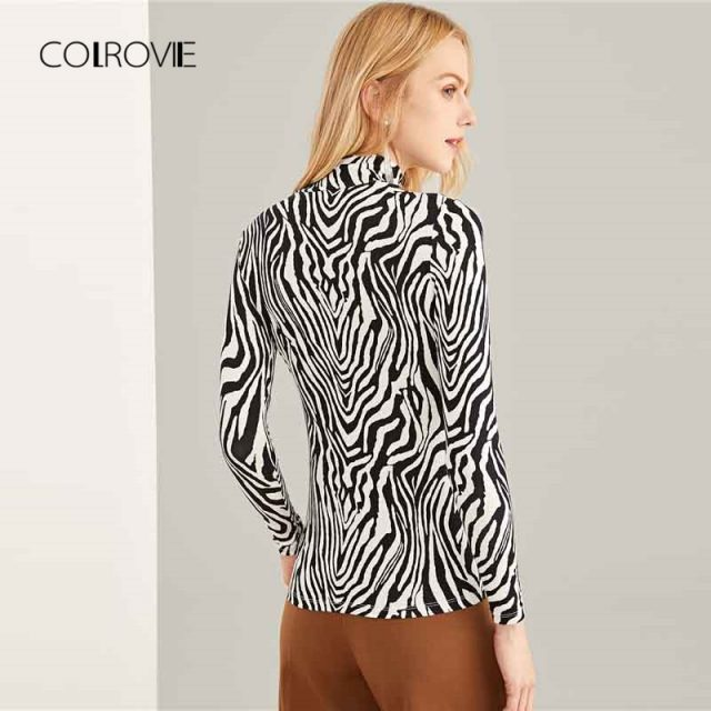 COLROVIE Black and White High Neck Zebra Print Long Sleeve Sexy T-Shirt Women 2018 Autumn Highstreet Slim Tops Tee Women Clothes