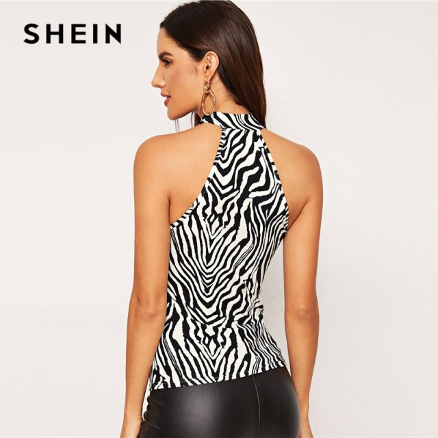 SHEIN Mixed Print Halterneck Top Slim Fit Sexy Party Vests Halter Women Autumn Casual Elegant Stretchy Modern Lady Tank