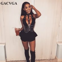 GACVGA 2019 New Sexy Crop Top Women Backless PU Chain Patchwork Tops Seductive Black Hollow Out Tank Tops Party Club Wear