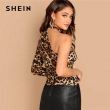 SHEIN Multicolor One Shoulder Leopard Print Tee Casual Long Sleeve Asymmetrical Neck Tops Women Autumn Slim Fit Cut Out T-shirt