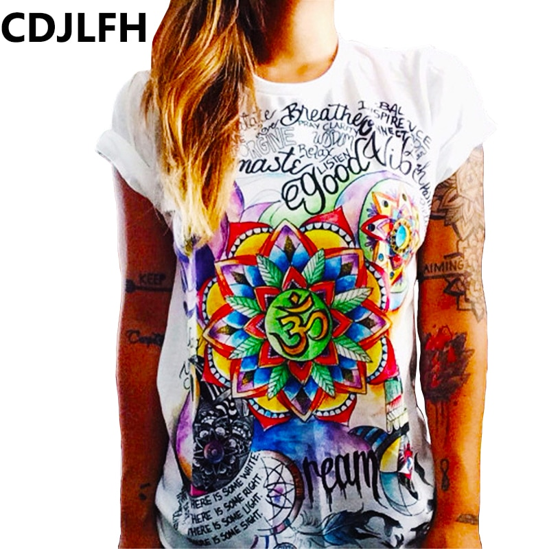 CDLJFH Summer Female T-shirt Cat Print Harajuku O-Neck Sexy Women Tshirt Kawaii White Tops Shirt Girls Heart T Shirt