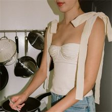 2018 Autumn New Arrival Women Sexy Tanks Camis High Quality Sexy Crop Top Off Shoulder Women Tops with Bow Spaghetti Strap Top