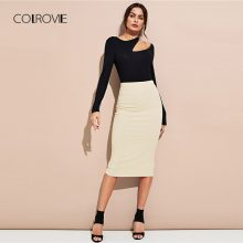 COLROVIE Black Workwear Asymmetric Cut Out Women T-Shirt 2018 Autumn Solid Sexy Slim Top Tee Pullovers Basic Women Clothing