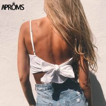 Aproms White Lace Up Linen Camisole Women Summer Beach Tie Up Bow Female Cami Crop Top Sexy Backless Sleeveless Short Tees