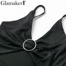 Glamaker Hollow out black top bodycon tank top Women shirt v neck strap summer crop top Female fitness party cropped casual cami