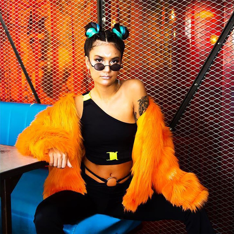 Cryptographic one shoulder fashion buckles sexy crop top short tank 2019 summer festival top cropped female neon streetwear