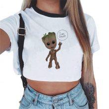 Women T-shirt Cute Bady Groot Printed Sexy Crop Top Tops Tshirt Tee Funny Fashion Vogue Cartoon T Shirt Harajuku Cropped Tumblr