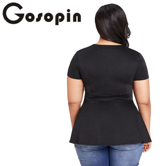 Gosopin Black Summer T-Shirt Women Plus Size Short Sleeve Club Party Shirts Sexy O Neck Blusa Tops Caged Top Hollow Out LC250752