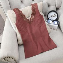 Alphalmoda Women's Slim Knitting Tank Tops Sexy Lace Patchwork Solid Color All-matching Summer Casual Tops