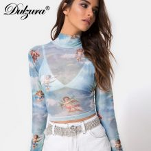 Dulzura mesh print women t shirts long sleeve heigh neck sexy 2019 spring summer see through tshirt crop top fashion t-shirts