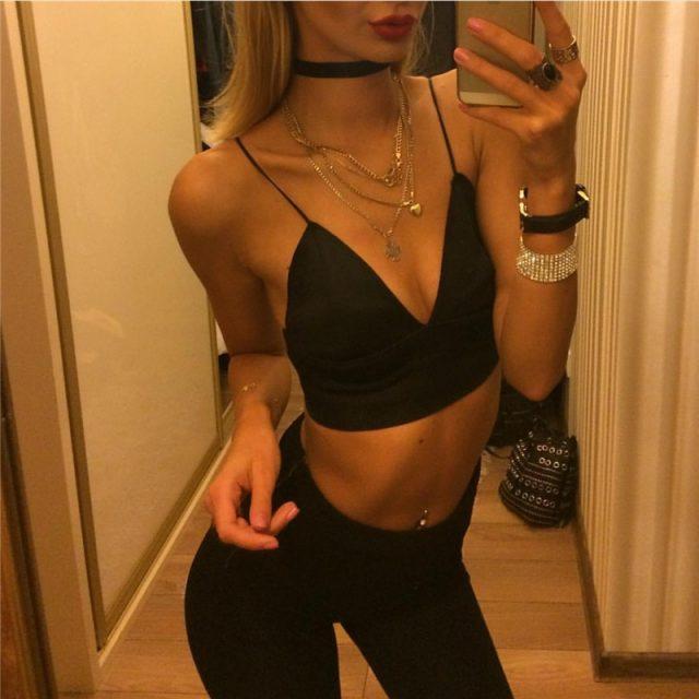 New arrival european fashion bra women crop top fashion slim sexy hot black bralette vest ladieswear solid fitness bralet sale