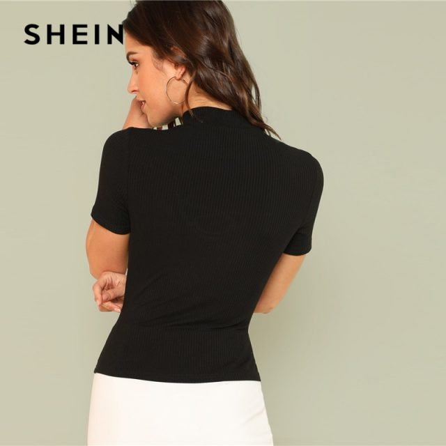 SHEIN Black Elegant Crisscross Choker V Neck Short Sleeve Striped Tee Summer Women Party Sexy T-shirt Top