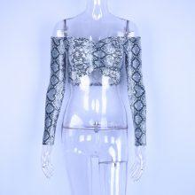Hugcitar long sleeve snakeskin slash neck sexy crop tops 2018 autumn winter women fashion elastic club T-shirts