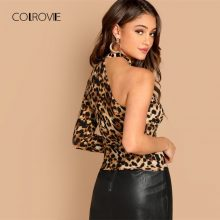 COLROVIE One Shoulder Leopard Print Cut Out Sexy T-Shirt Women Clothes Autumn Fashion Long Sleeve Shirts Ladies Tops Tee