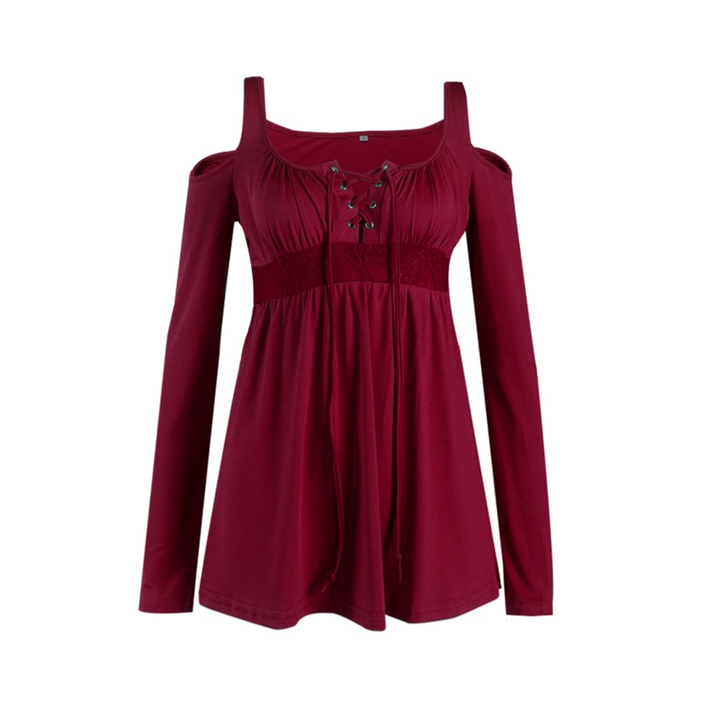2019 Plus Size 5XL Spring Women T-shirt Sexy V-Neck Lace Up Dew Shoulder T Shirt Female Casual Slim Long Sleeve Tees Tops