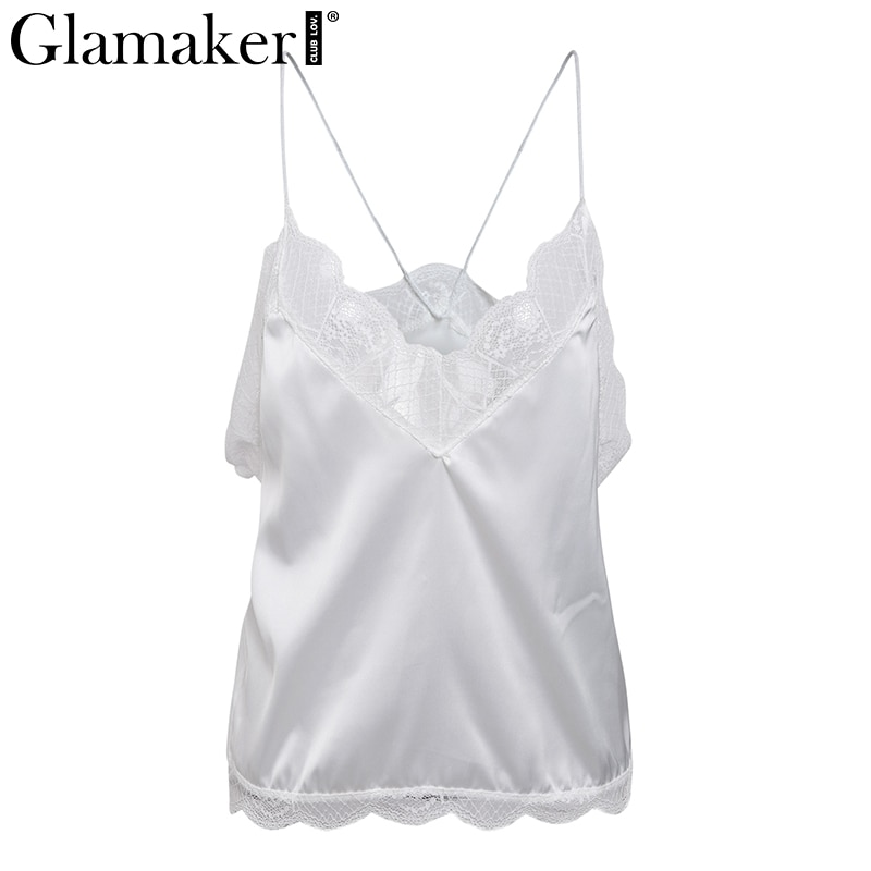 Glamaker Elegant v neck embroidery lace women tops&tees Satin pink backless loose summer camisole tank top Female sexy top cami