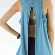 Monbeeph Sexy Women Vest Clothes stretch Tank Tops shirts with Back split t-shirt