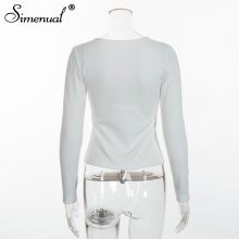 Simenual Buttons up autumn t-shirts for women tops fashion slim sexy white long sleeve female t-shirt solid basic tee shirt sale