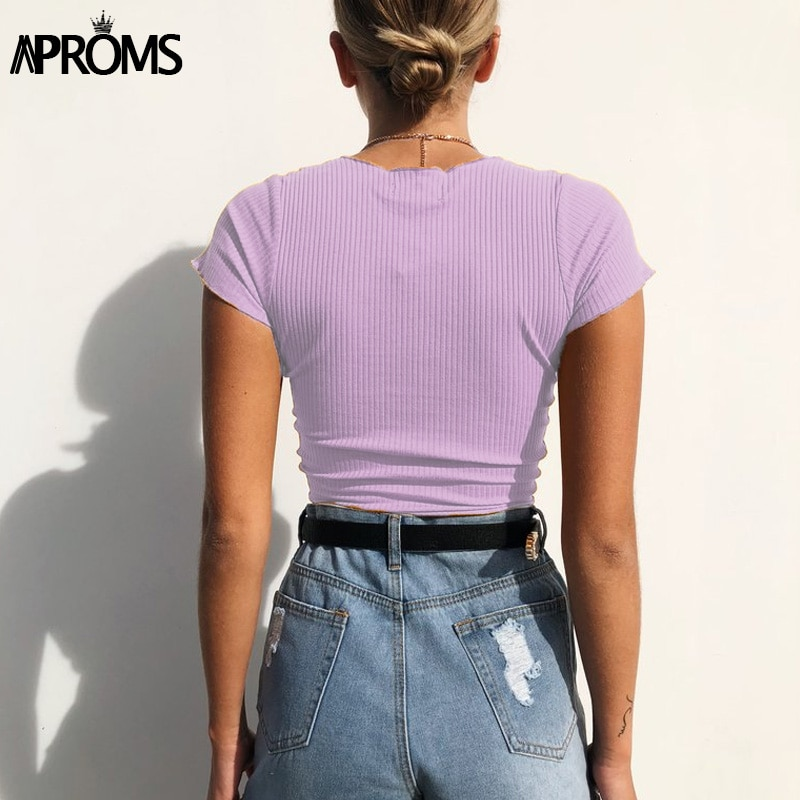 Aproms Sexy V Neck Cropped Tank Tops Women Drawstring Tie Up Front Camis Candy Colors Streetwear Slim Fit Ribbed Crop Top 2019
