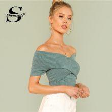 Sheinside Green Wrap Design Top Office Ladies Off Shoulder Short Sleeve Sexy T-shirt Women 2018 Summer Plain Slim Elegant Tee