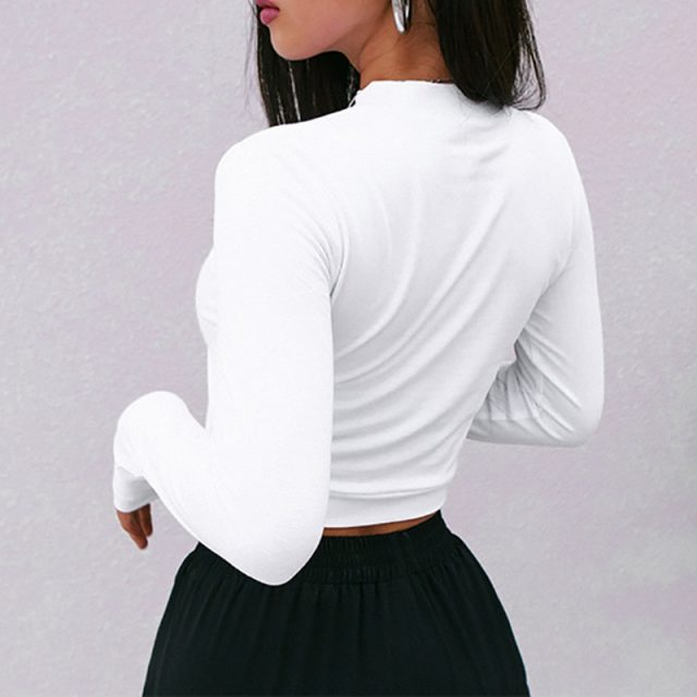 Simenual Fashion autumn 2018 female t-shirt crop top letter print white tshirt slim sexy turtleneck long sleeve t-shirts women