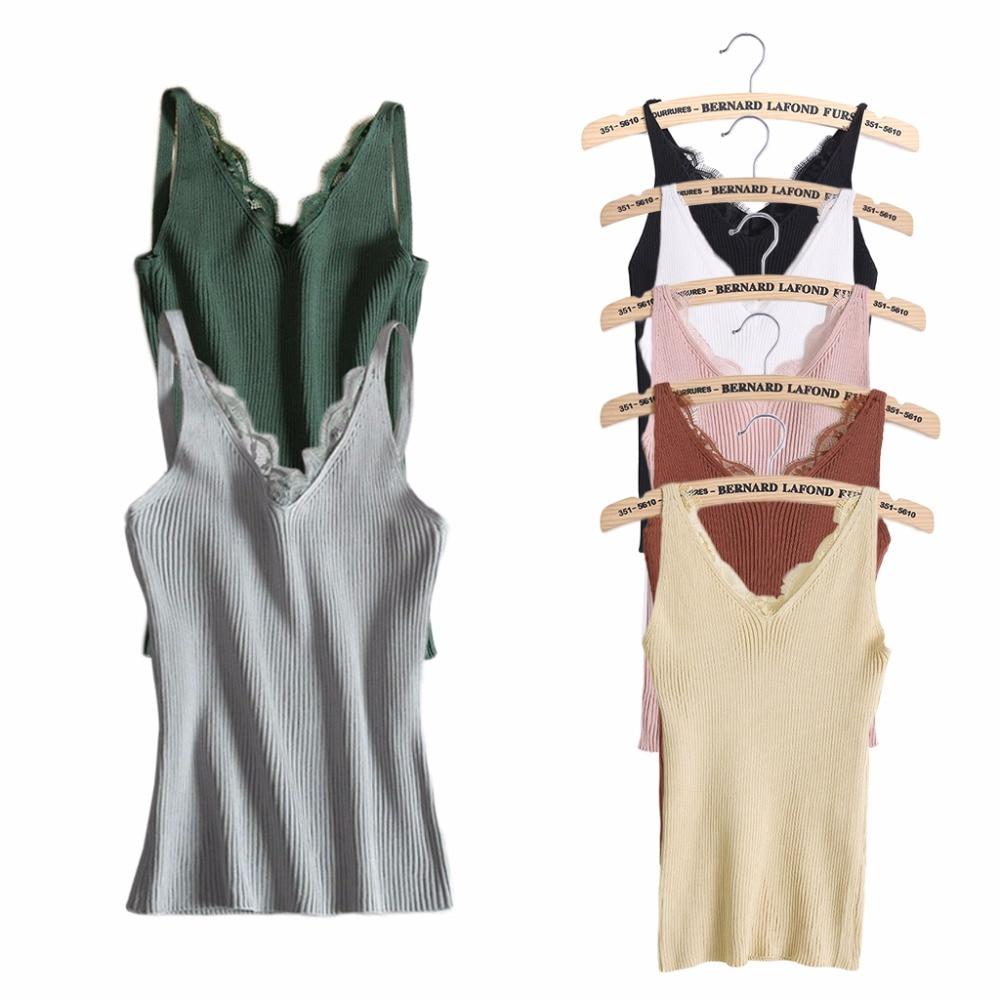 KLV Women Sling Lace Camisole Vest Backless V-Neck Slim Sexy Tank Tops 7Colors