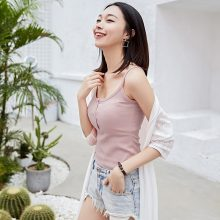 Tank Top Sexy Silm Summer Camisole Woman Vest Solid Cotton Halter Crop Top  Black White Pink Basic  Bustier Top T Shirt GMZ17065