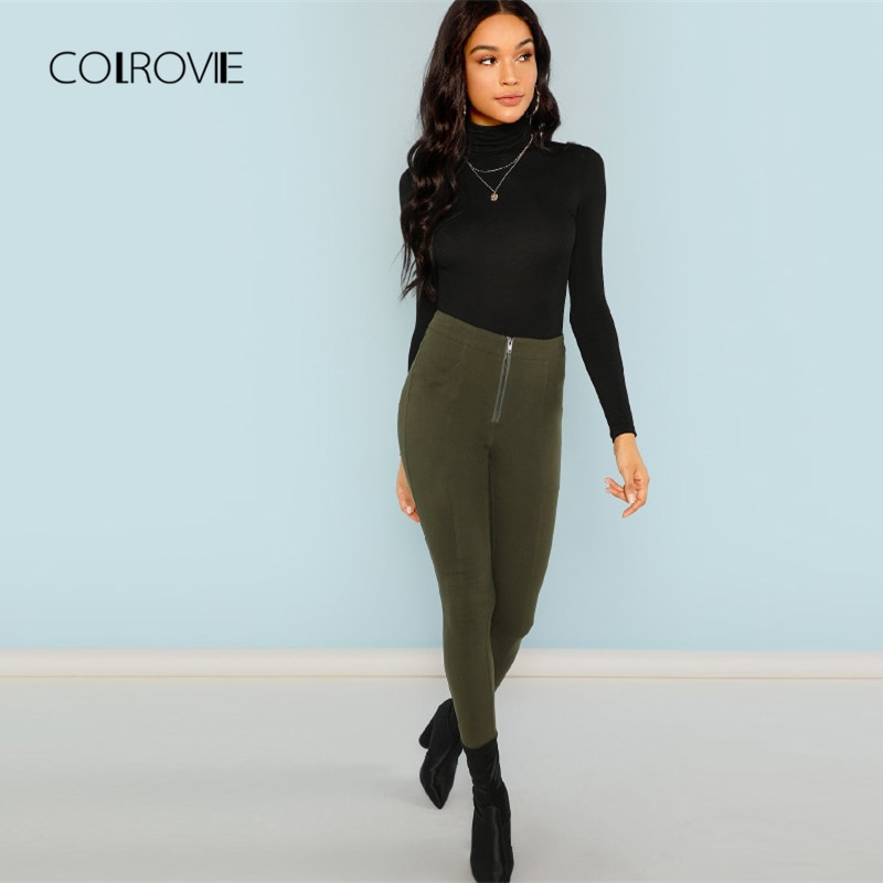 COLROVIE Black Solid Workwear High Neck Classic T Shirt For Girls Autumn Basic Skinny Women Clothing Tee Sexy Female Tops Tee