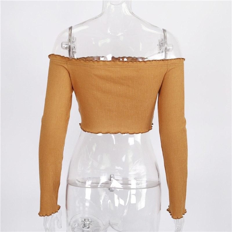 Women Off Shoulder Crop Top Shirt Female Sexy Long Sleeve Tshirt Tumblr 2019 Fashion Summer Casual Tops Tee Blusas Femininas