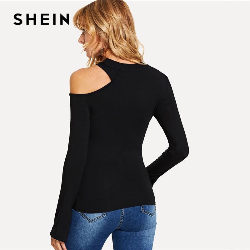 SHEIN Black Sexy Asymmetrical Neck Tee Plain Split Long Sleeve Autumn Tops Women Elegant Flounce Sleeve Party T-shirt Top