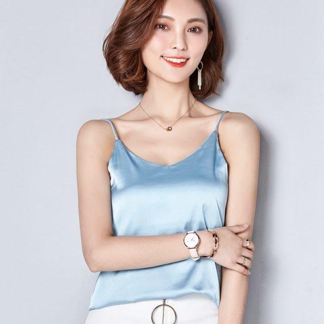 Women Camis Silk Halter Top Women Camisole 2018 Summer Style Sexy Sleeveless Vest Slim White Crop Top Roupas Femininas XXL