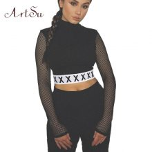 ArtSu Fashion Autumn Mesh Top Long Sleeve Crop Tops Turtleneck Punk Kpop T shirt Women Sexy Black Short T-shirt ASTS20216
