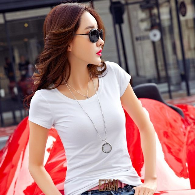 Summer Sexy Ultra-thin Solid T Shirt Women Casual O-neck Short Sleeve Black Tops Fashion Ladies Tees White C  T-shirts