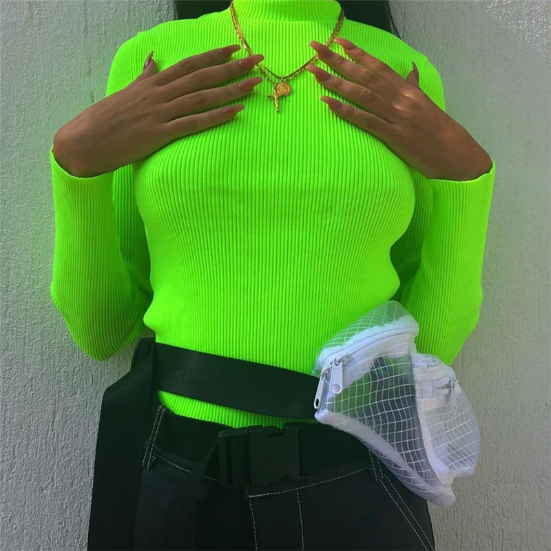 Ahagaga 2019 Spring Tees T-shirt Women Tops Fashion Solid Green Red Regular Long Sleeve Casual Women T-shirts Top Blusas Female