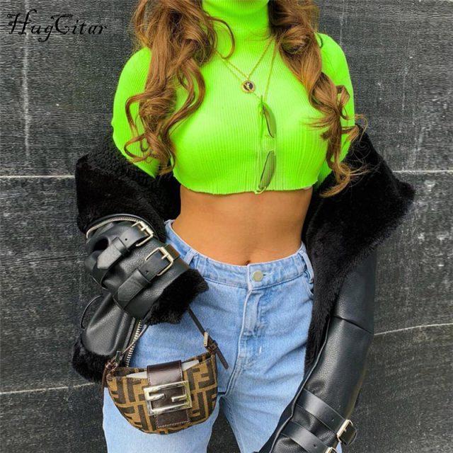 Hugcitar long sleeve high neck sexy crop tops 2018 autumn winter women fashion christmas solid T-shirts
