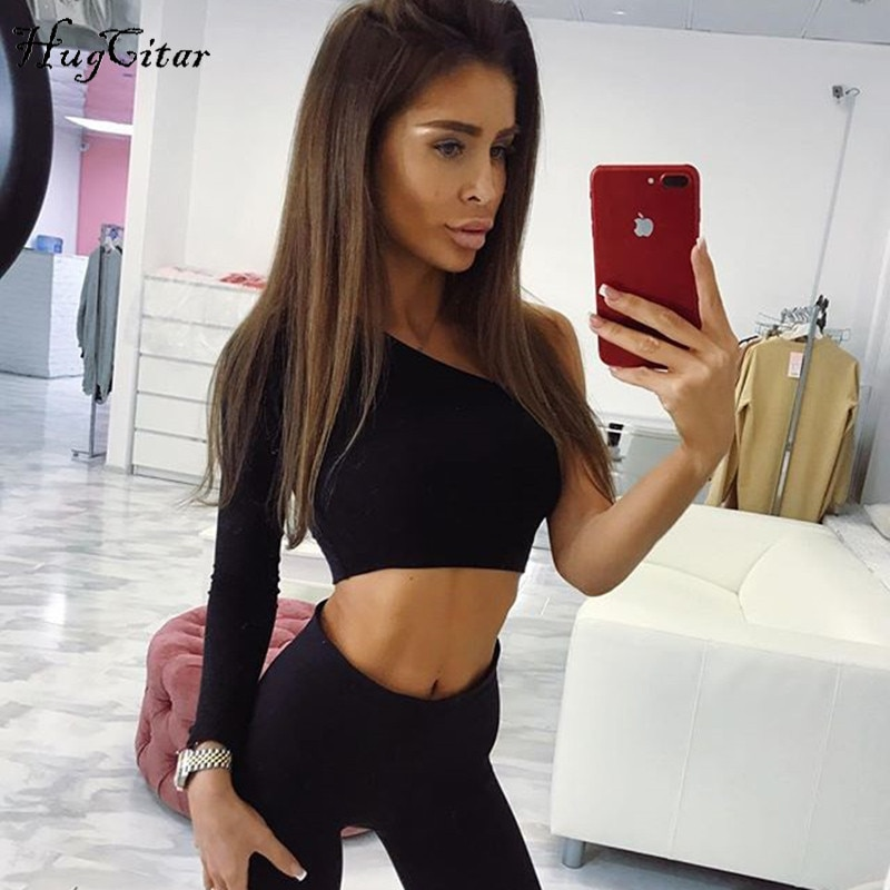 Hugcitar cotton one shoulder slope long sleeve crop top 2018 women sexy fashion single sleeve T-shirt female black solid tops