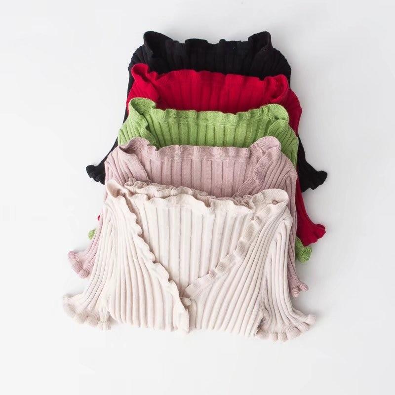 Women Harajuku Knitted Short Ruffles Sleeve Shirt Crop Top Unif Sexy Street Wear White Femme Short Sleeve funny T Shirt Summer