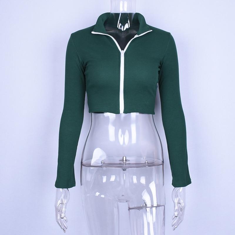 Hugcitar long sleeve patchwork zipper high neck sexy crop tops t shirt 2018 autumn winter women fashion new casual T-shirts